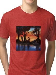 Rotating ART! two pics in one! fishing and gathering/Dali Tri-blend T-Shirt