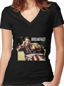 The Bueller Breakfast Shirt Women's Fitted V-Neck T-Shirt