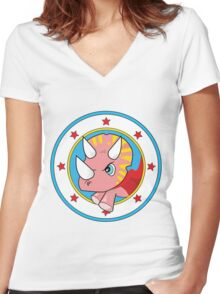 Wonder Triceratops! Limited Edition Design Women's Fitted V-Neck T-Shirt