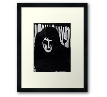 Ink on glass Depressed woman  Framed Print