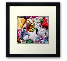Set of christmas decorations Framed Print