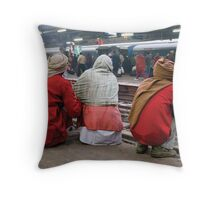 Delhi trainstation Throw Pillow