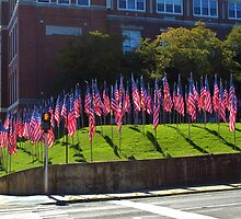 American Flags on Main Street by Gilda Axelrod