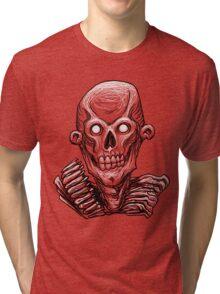 Zombie Skull Head Tri-blend T-Shirt