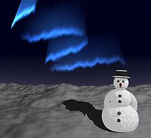 Snowman in the snow under the Aurora Borealis by queensoft