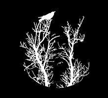 Nevermore (White Silhouette) by Lou Endicott