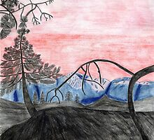 Forest Sunset Sketch: View of Mount Baldy by Bearie23