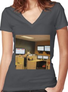 Unicorn in a cubicle #1 - the death of magic Women's Fitted V-Neck T-Shirt