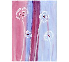 White tall flowers - Acrylic abstract painting Photographic Print