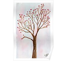 The tree of love. Watercolor painting art. Poster