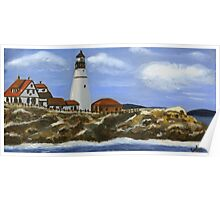 Portland Headlight - Oil On Canvas Painting Poster