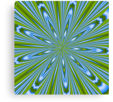 Star Burst in Lime and Blue Canvas Print
