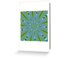 Star Burst in Lime and Blue Greeting Card