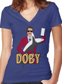Ron Burgundy and Doby Women's Fitted V-Neck T-Shirt