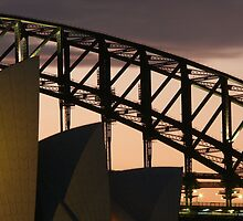 Sydney opera house and harbour bridge Abstract at dusk by Dean Woodyatt