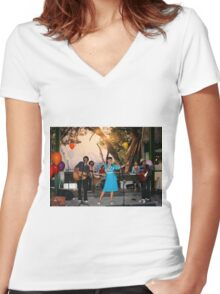 retro style Women's Fitted V-Neck T-Shirt