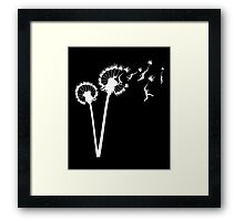 Dandylion Flight - white silhouette Framed Print