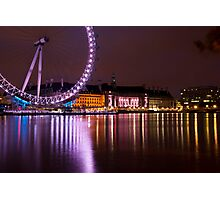 Big Wheels Keep on Turning: The London Eye at Night Photographic Print