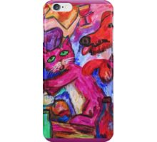Pink Puss And Red Dog iPhone Case/Skin