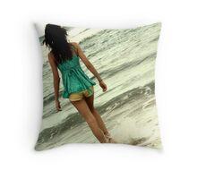 Walking through water Throw Pillow