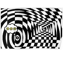 comic cloud of black and white chess board tunnel op art  Poster