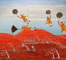 "Surrealism  ""Ned Kelly Gang's Cheap Flight"" Original For Sale  Worldwide by EJCairns"