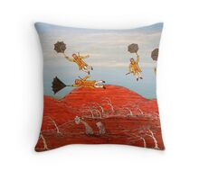 "Surrealism  ""Ned Kelly Gang's Cheap Flight"" Original For Sale  Worldwide Throw Pillow"