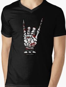HEAVY METAL HAND SIGN - bloody Mens V-Neck T-Shirt