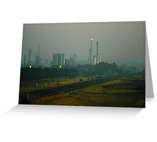 Shell Oil Refinery in Smoke Greeting Card