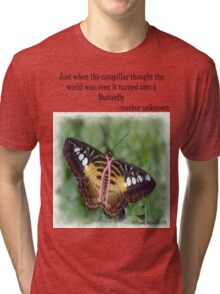 Butterfly with Breast Cancer Ribbon Tee Tri-blend T-Shirt