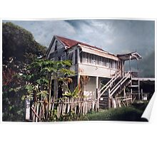 Guyana, typical wood house Poster