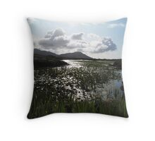 Waterlilly covered loch Throw Pillow