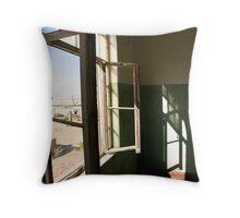 Open Windows in Derelict Building Throw Pillow