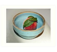 peach in blue bowl Art Print