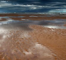 reflections, balmedie beach by codaimages