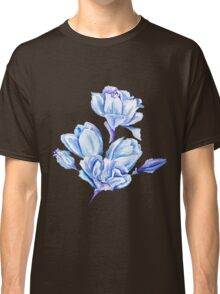Blue Watercolor Tulip Pattern Classic T-Shirt