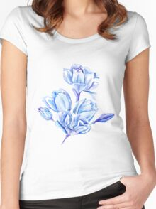 Blue Watercolor Tulip Pattern Women's Fitted Scoop T-Shirt