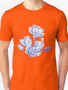 Blue Watercolor Tulip Pattern Unisex T-Shirt