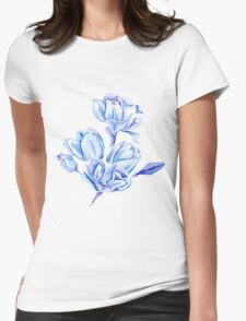 Blue Watercolor Tulip Pattern T-Shirt