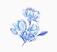 Blue Watercolor Tulip Pattern T-Shirt