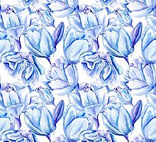 Blue Watercolor Tulip Pattern by kisikoida