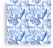 Blue Watercolor Tulip Pattern Canvas Print