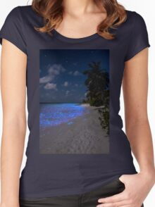 Fluorescent plankton in the Maldives - Indian Ocean Women's Fitted Scoop T-Shirt
