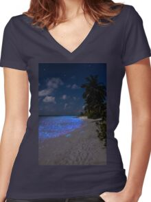 Fluorescent plankton in the Maldives - Indian Ocean Women's Fitted V-Neck T-Shirt