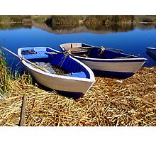 Blue wooden boats Photographic Print