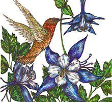 Columbine with Rufous Hummingbird by artbyjehf