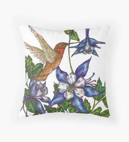 Columbine with Rufous Hummingbird Throw Pillow