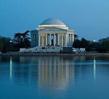 Jefferson Memorial, Reflecting in Blue by Paul Bohman