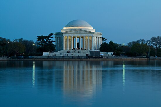 Jefferson Memorial, Reflecting in Blue by Paul Bohman