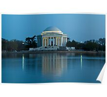 Jefferson Memorial, Reflecting in Blue Poster